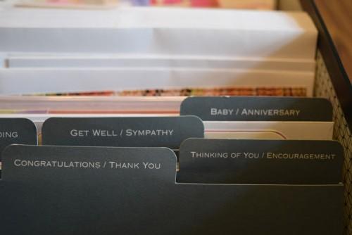 greeting card organization