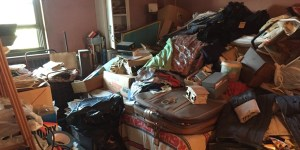 Overly cluttered room; example of hoarding