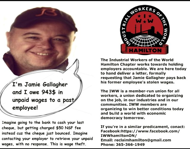 Flyer distributed to customers of Gallagher's Bar as part of Hamilton Reclaim Your Pay campaign, November 2018 | Image courtesy of Hamilton IWW