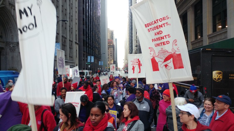 CTU members at a rally and march in downtown Chicago, October 17, 2019