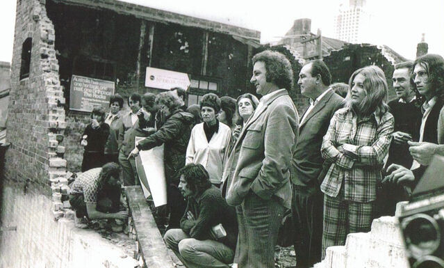 Jack Mundey, BLF members and local residents at a Green Ban demonstration, 1973.