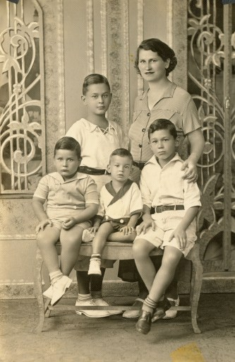 My grandmother and her four sons, circa 1935. My father is on the bottom right.