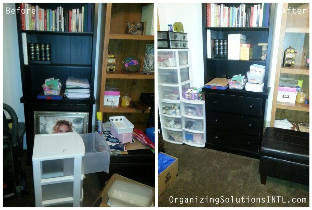 Catch-All Office Organize - before and after organized office shelving