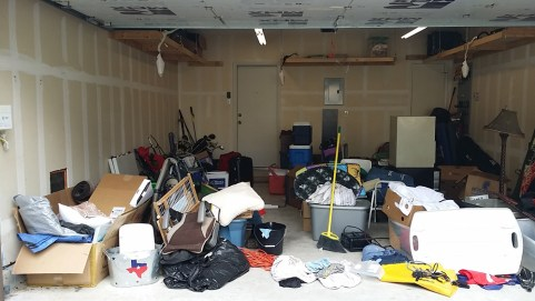 Un-Packing a Catch-All Garage - cluttered garage left