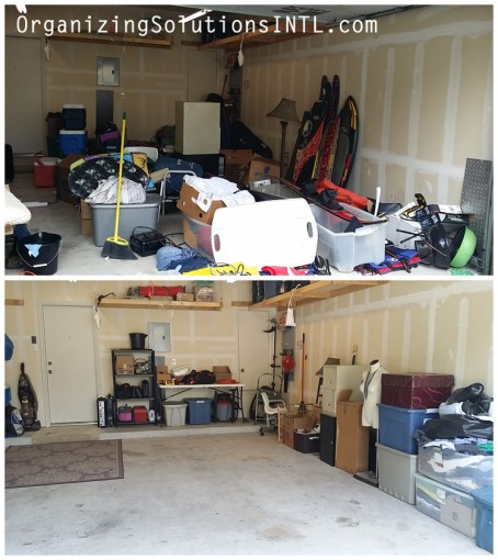 Un-Packing a Catch-All Garage - organized garage before and after right side