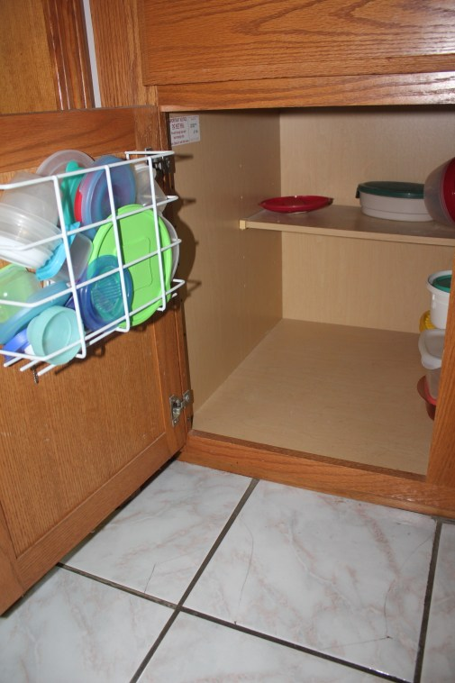 Tupperware and Troubled Corners - cleared out tupperware cabinet