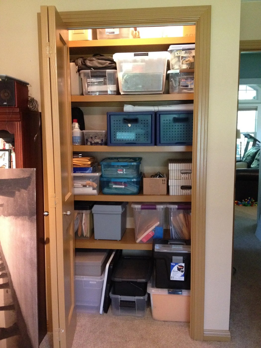 Purging Outdated Technology in a Home Office Closet  - Organized Home Office Closet