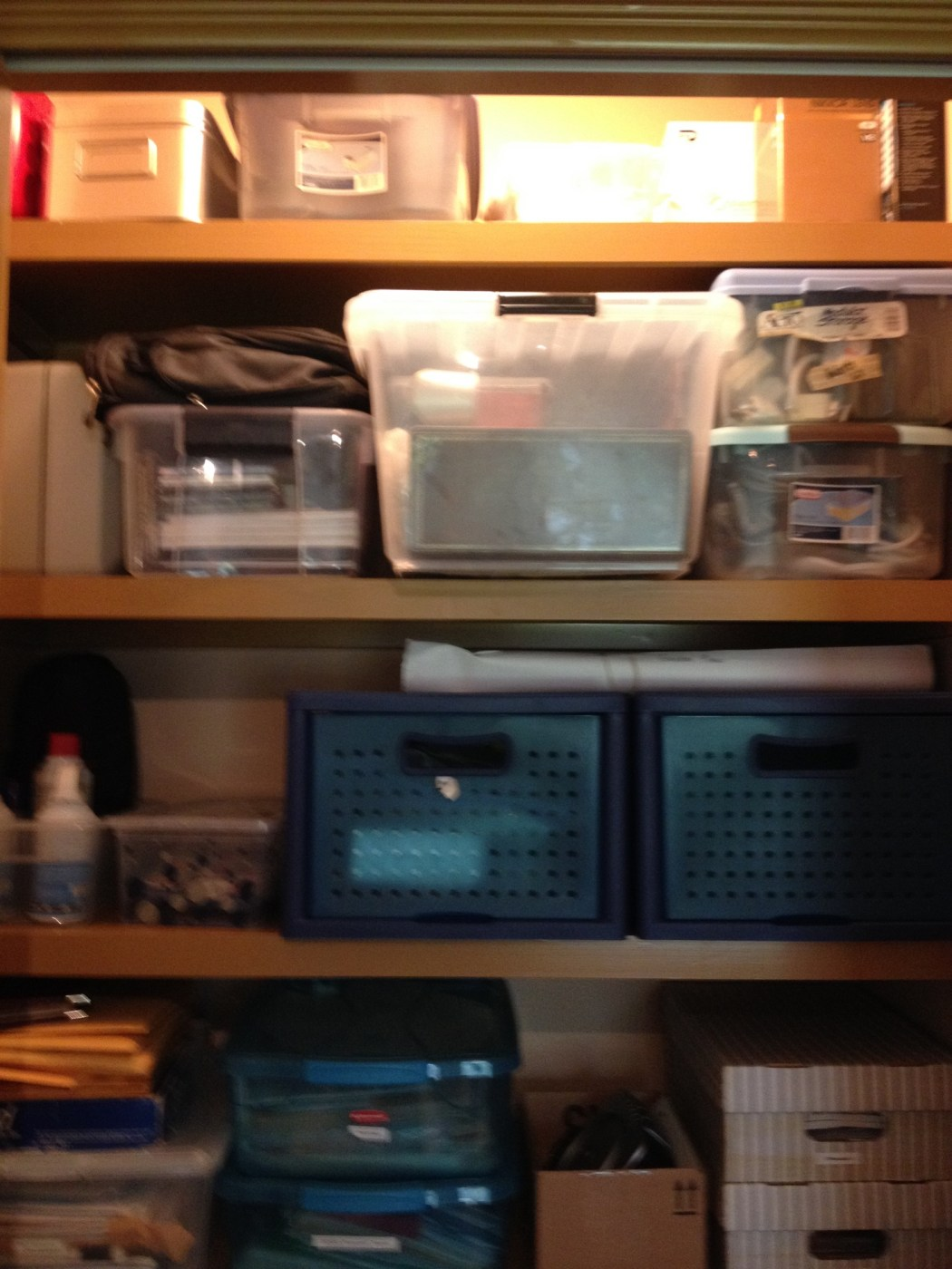 Purging Outdated Technology in a Home Office Closet  - Organized Top View of Home Office Closet