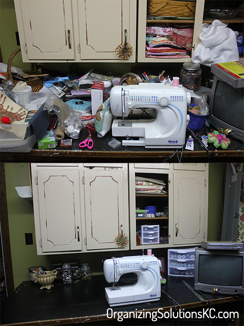 A Craft Room Rediscovered - before and after of an organized sewing counter