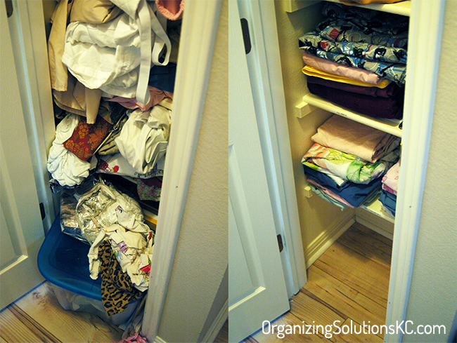 Stuffed Linen Closet - Organized Linen Closet Before and After