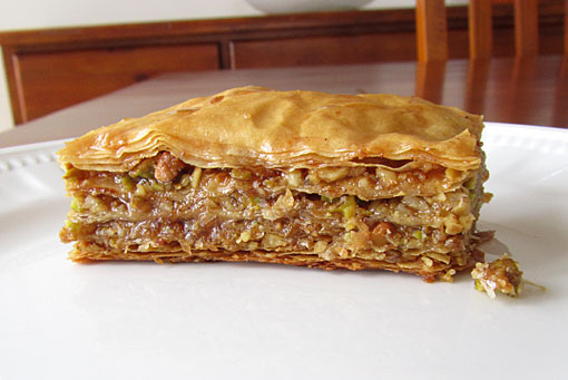piece of baklava Greek pastry on a plate
