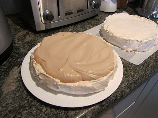 layered pavlova with chocolate cream center