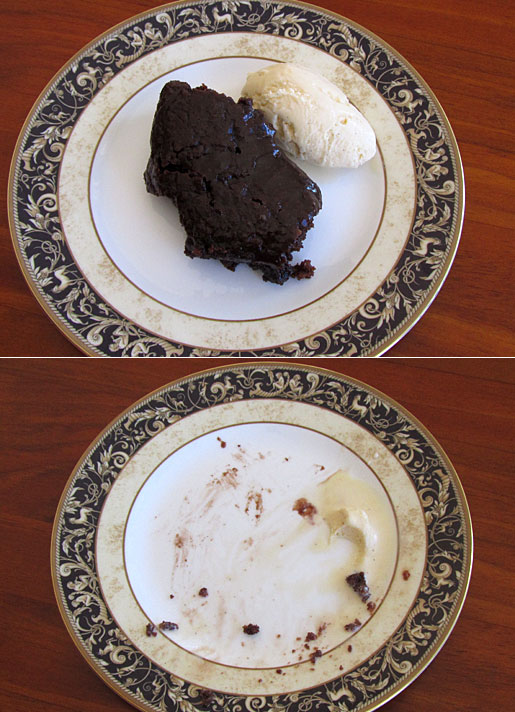 before and after chocolate cake