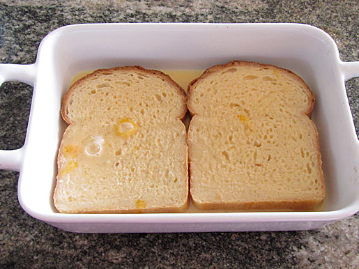 soaking bread for baked French toast