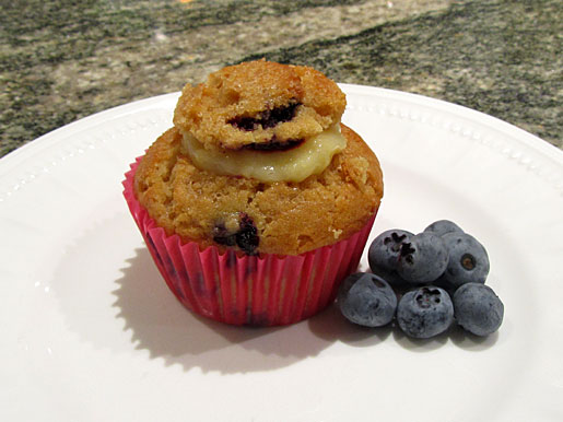 blueberry muffins filled with lemon butter