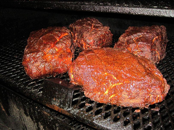 pork shoulder in the smoker