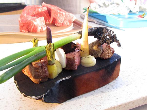 Cameron Matthews' Steak on Burning Board