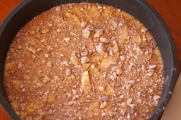 making a streusel topped apple coffee cake