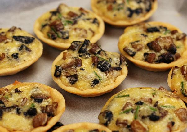 mushroom tart with truffle oil