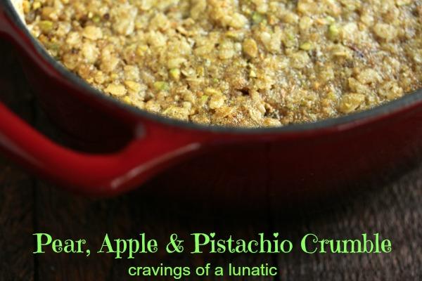 Pear, Apple and Pistachio Crumble by Cravingsofalunatic.com