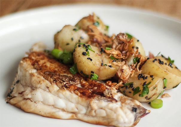 Spicy barramundi with Asian style potato salad
