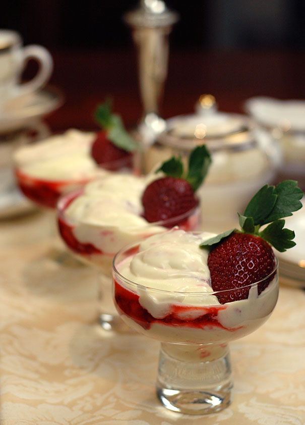 White Chocolate and Roasted Strawberry Fool