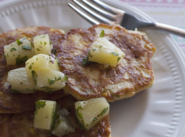 Corn Fritters with Pineapple Salsa