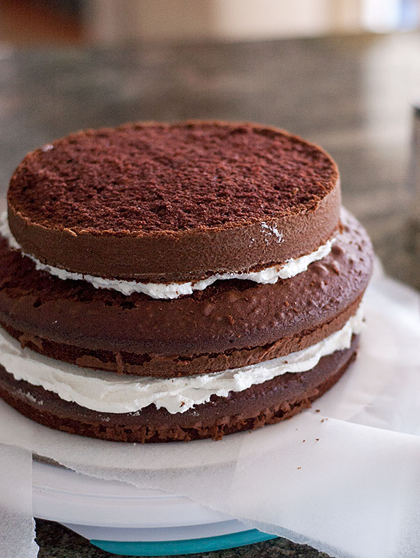 Chocolate two-tier birthday cake