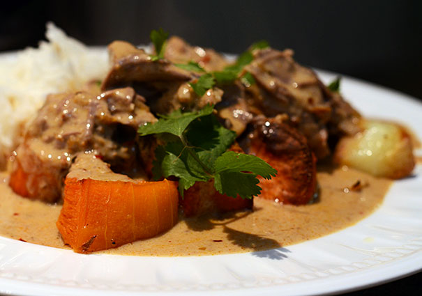Massaman Lamb Curry over Roasted Vegetables