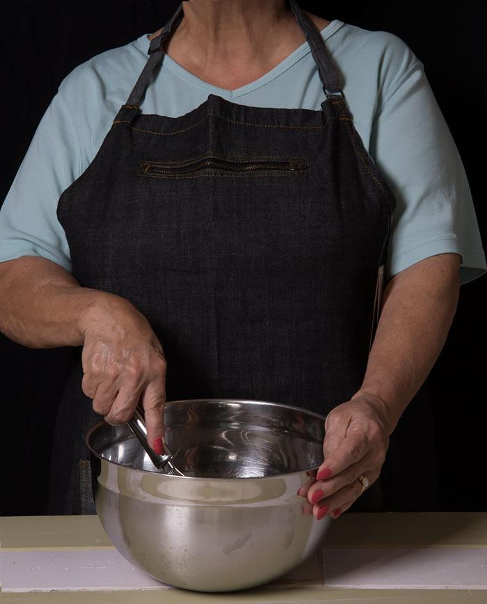 Wearing a Chef Works Denim Apron