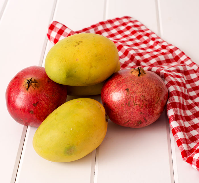 Mangoes and pomegranates