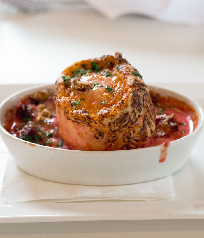 Twice Baked Cheese Souffle with Roasted Beetroot