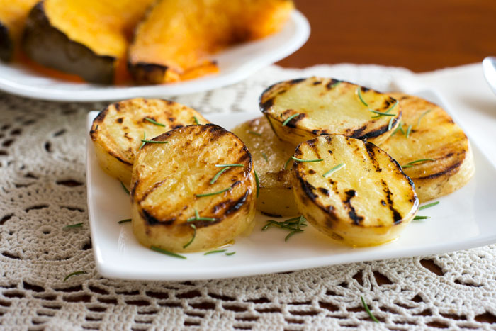 Grilled potato slices.