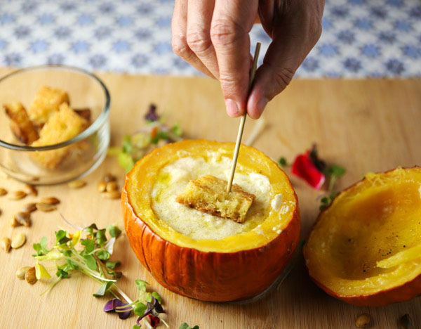 This Oven Roasted Pumpkin Stuffed With Cheese is a great way to use up any leftover cheese. This is the perfect fondue appetizer and is sure to impress your guests!