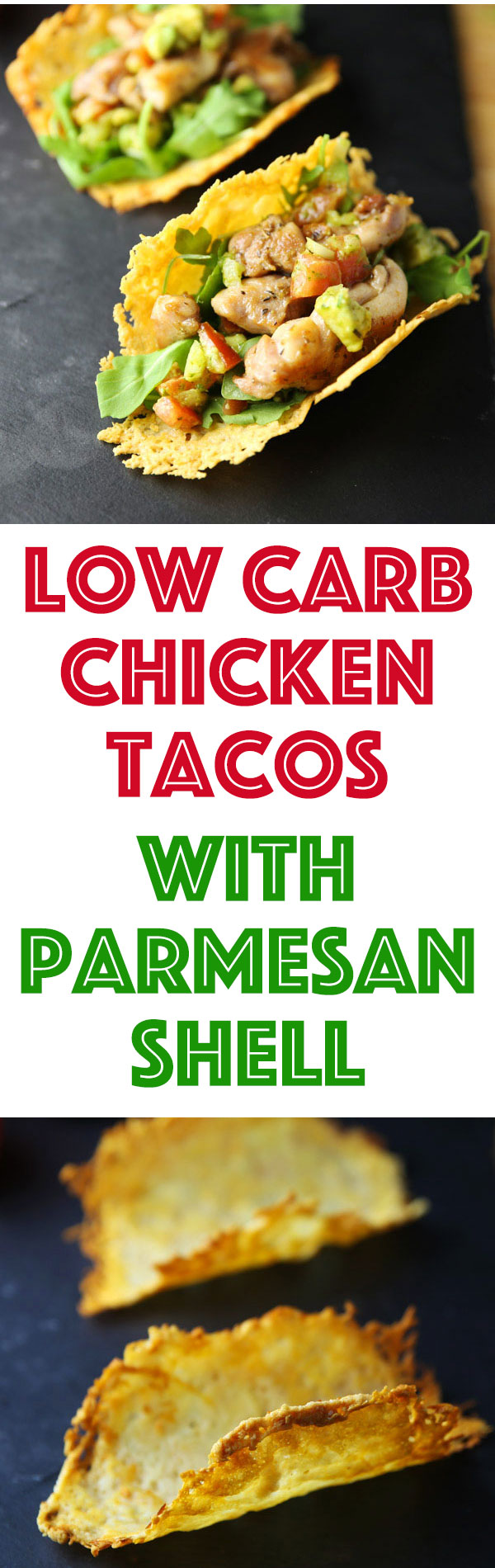 These Chicken Tacos are made Low Carb with a Parmesan Shell! Using Parmesan Cheese to create the taco shell gives this such a unique flavor and holds together much better than traditional taco shells!