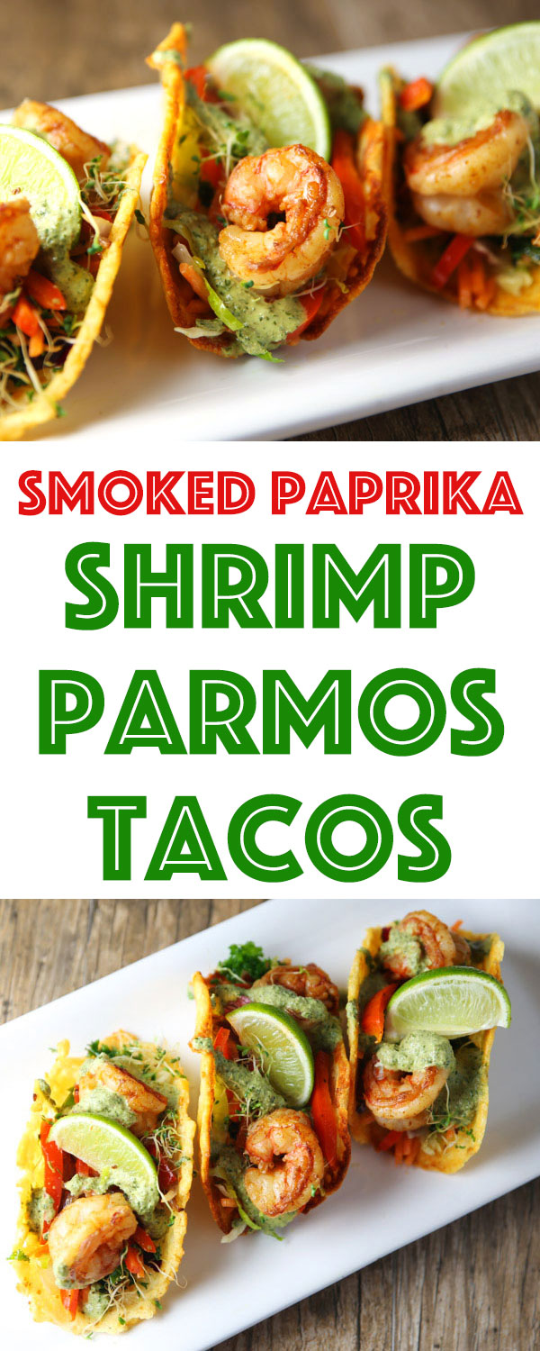 These Smoked Paprika Shrimp Parmos Tacos are super easy to make and so tasty! Using Parmesan Cheese to make these taco shells really kicks all of the flavors up a notch!