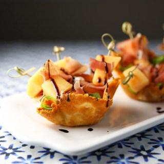 Prosciutto and Melon Mini Skewers in a Parmesan Basket