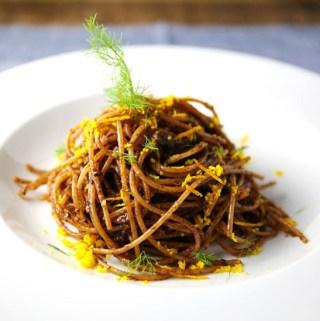 Spaghetti with Fennel Orange and Moroccan Olive Pesto
