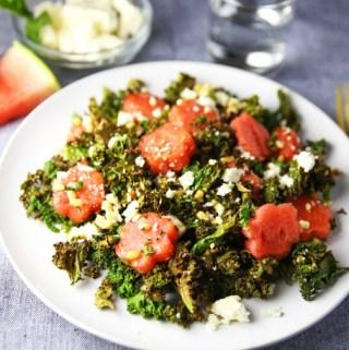 Watermelon Feta Pine Nuts and Crispy Kale Salad