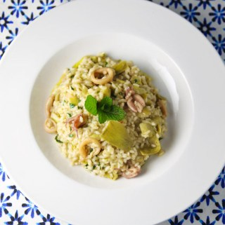 Calamari Artichokes Mint and Pecorino Risotto