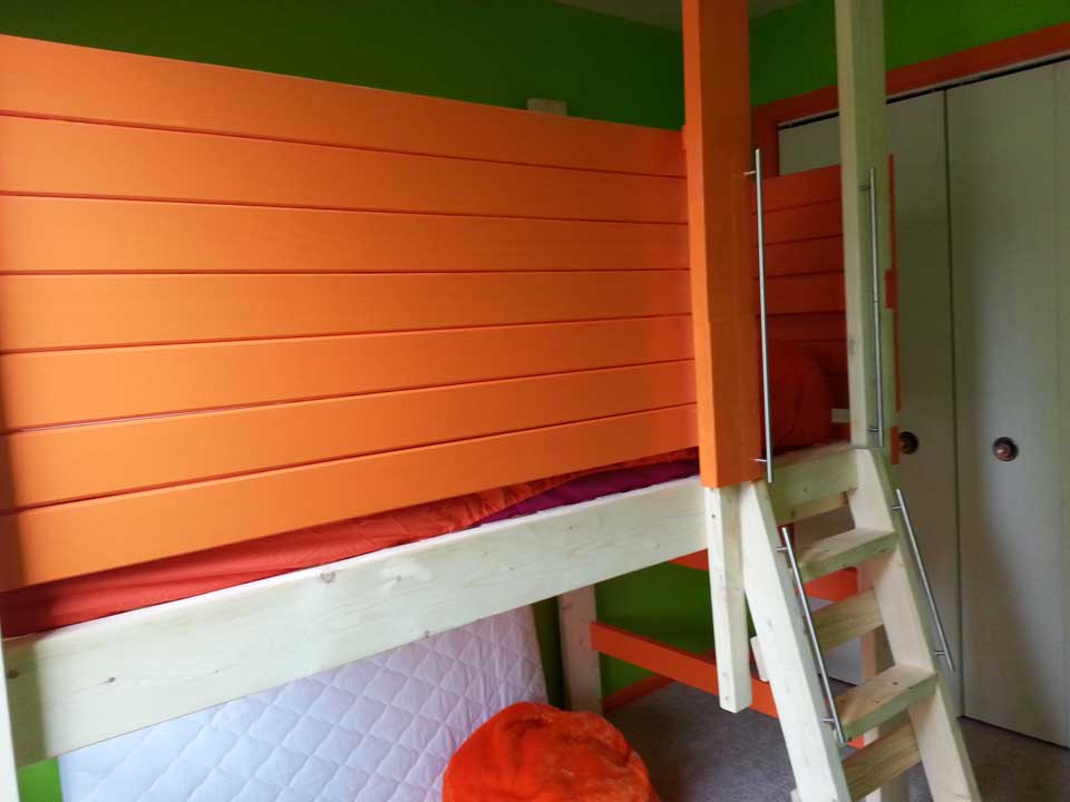 Customized loft bed for 3-yr-old