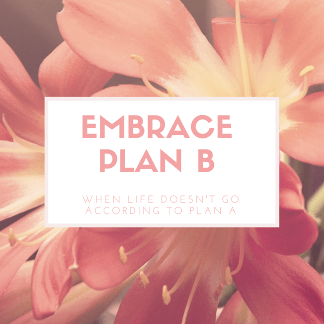 Do you struggle with perfectionism and having to be in control?  I used to as well but am now learning to Embrace Plan B in life!