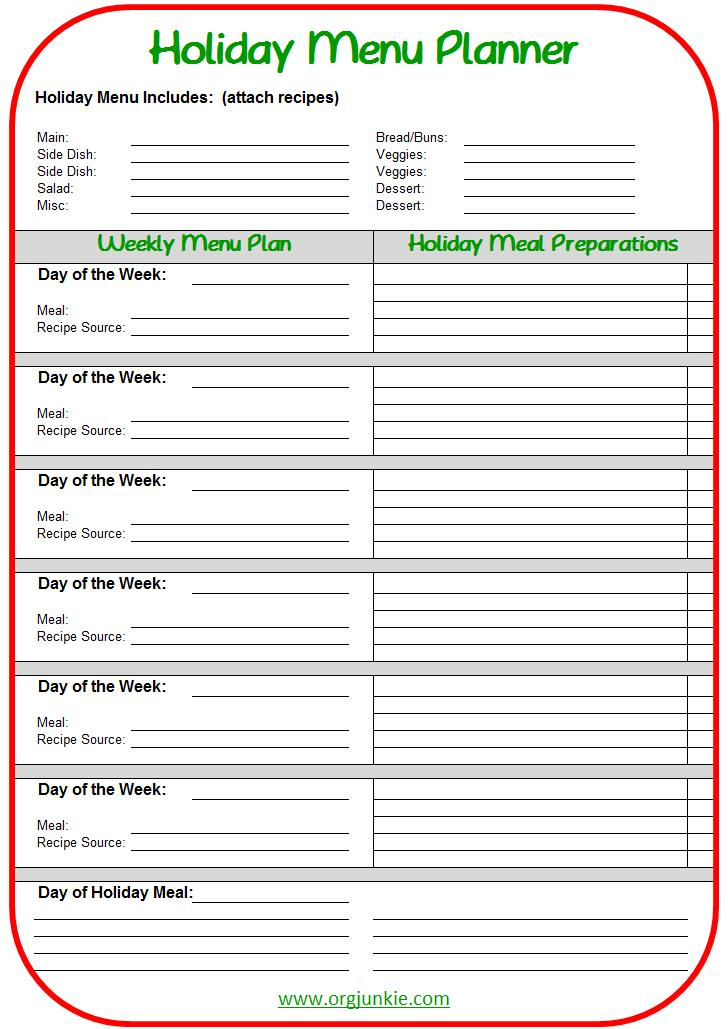 Holiday meal planning made easy free printable for Make a planner online