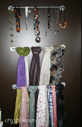 cde8a8c48b3 My girlfriend hung towel rods behind her bedroom door and then hung her  scarves off them. I love this idea and as you can see it also works great  for ...