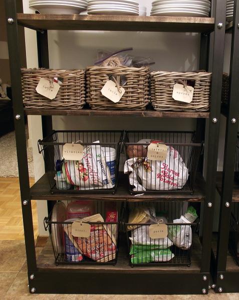 organized open shelving