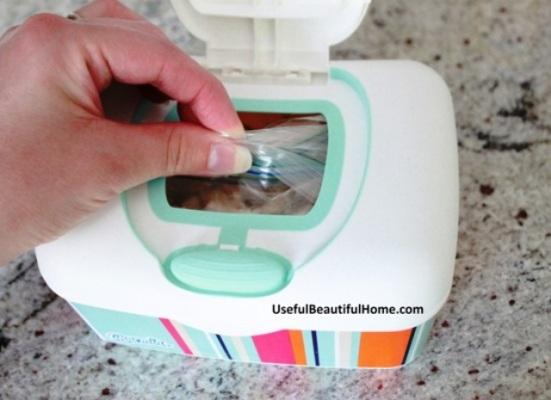 pull baggies through opening in Charmin box