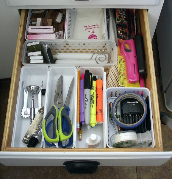 dollar store drawer organization