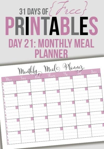 Free Monthly Menu Planner