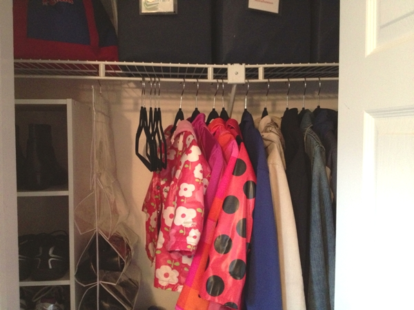 entryway closet after with thin hangers