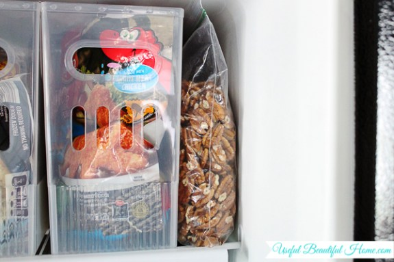 Freeze pecans flat and stack vertically to use less space in a top freezer